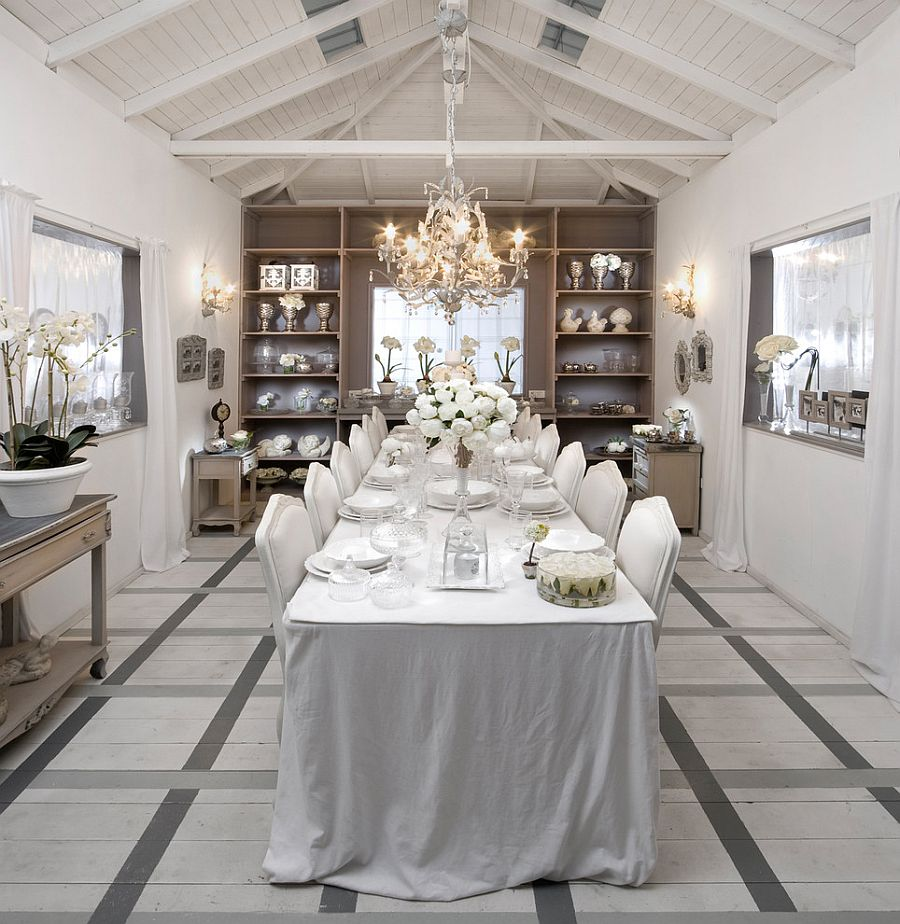 50 cool and creative shabby chic dining rooms for White dining room ideas