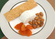 An individual Thanksgiving cheese plate