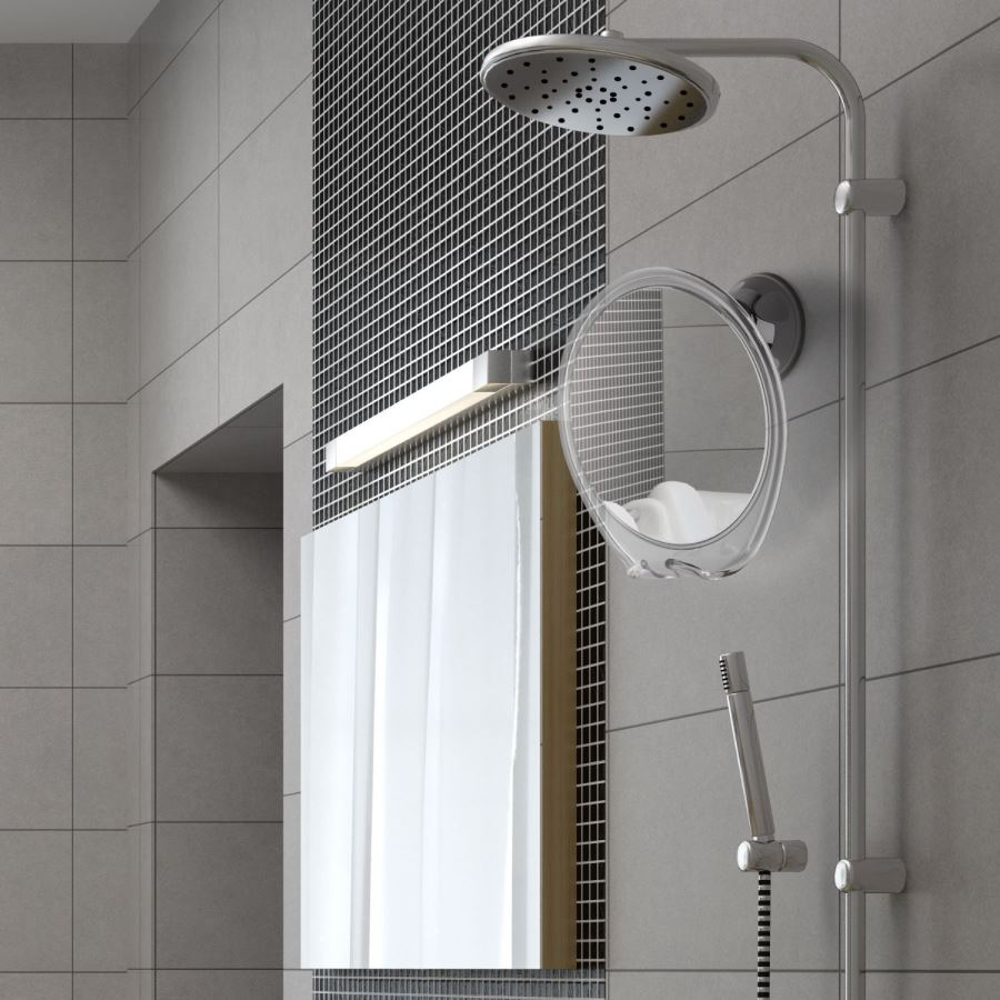 Anti-fog shaving mirror for the shower