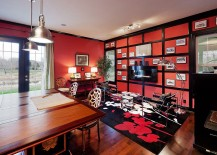 Antique red by Sherwin Williams gives the home office an energetic look