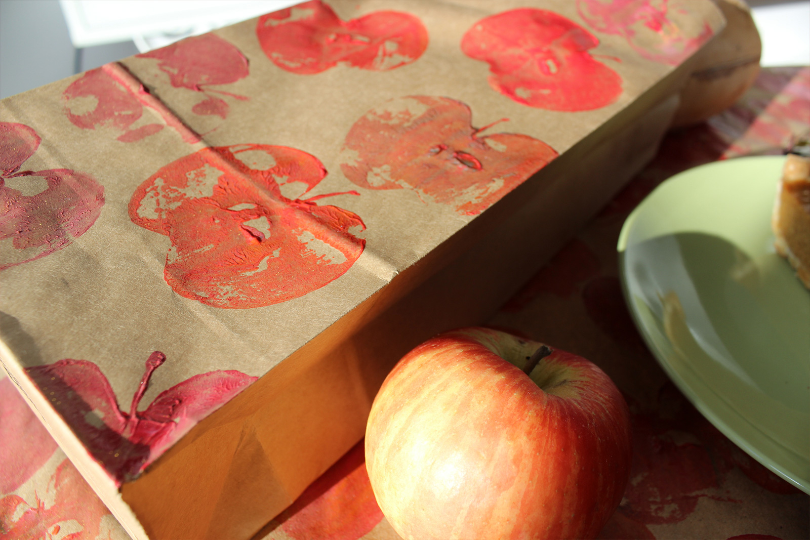 Apple Stamped Gift Bag