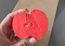 Apple Stamping Red and Gold Paint on Apple
