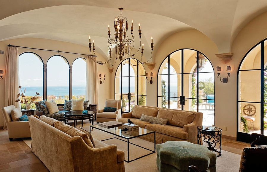 View In Gallery Arched Windows And Limestone Inspired Paint Give The Living  Room A Modern Mediterranean Style