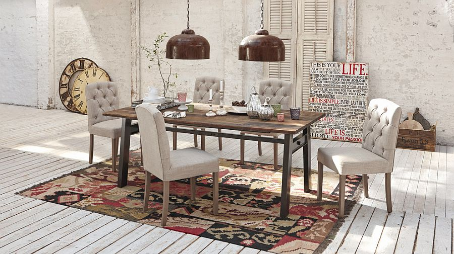 Area rug brings the different elements in the dining space together and defines it [Design: Loberon]