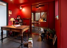Asian eclectic home office with plenty of red
