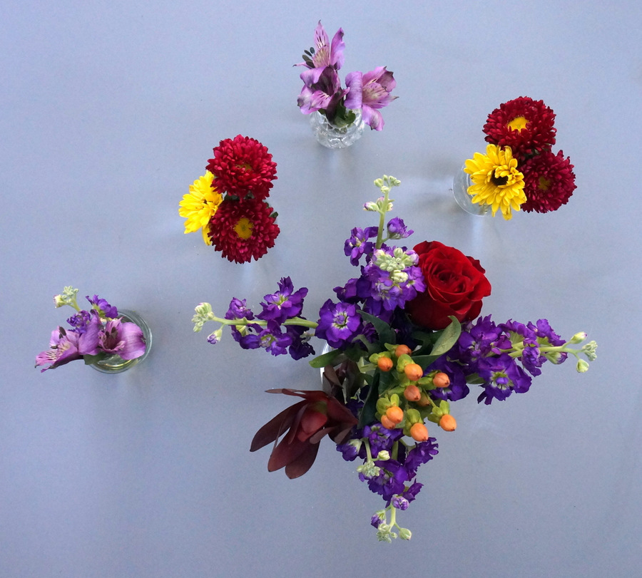 Assemble your smaller bouquets of flowers