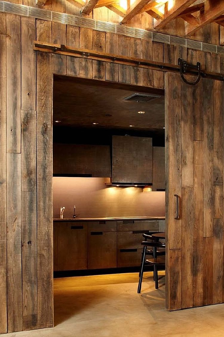 25 trendy kitchens that unleash the allure of sliding barn for Kitchen entrance door designs