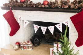 Be Merry traditional holiday banner in simple red and white Holiday Banner Ideas to Showcase Your Cheerful Message Holiday Banner Ideas to Showcase Your Cheerful Message Be Merry traditional holiday banner in simple red and white