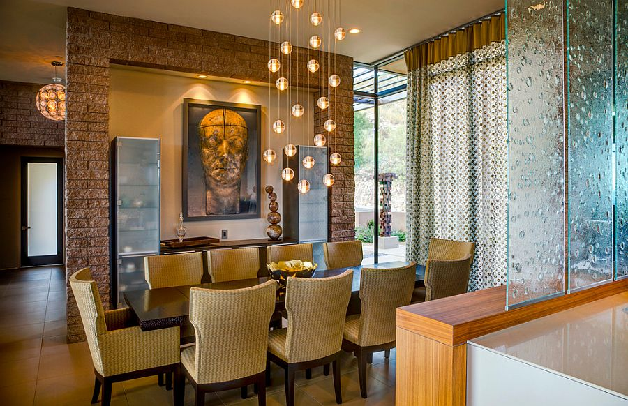 Beautiful bocci lighting fixture enlivens the modern for Beautiful modern dining rooms