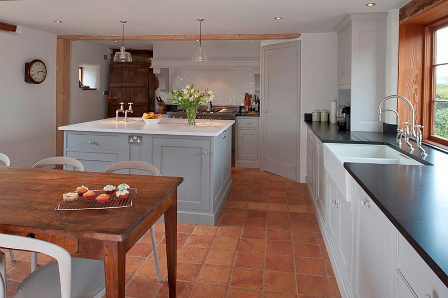 Beautiful English Country kitchen with terracotta floor tiles