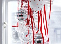 Beautiful glass ornaments in red polka dots and stripes 217x155 7 Festive Decorations to Hang in Your Windows for the Holidays