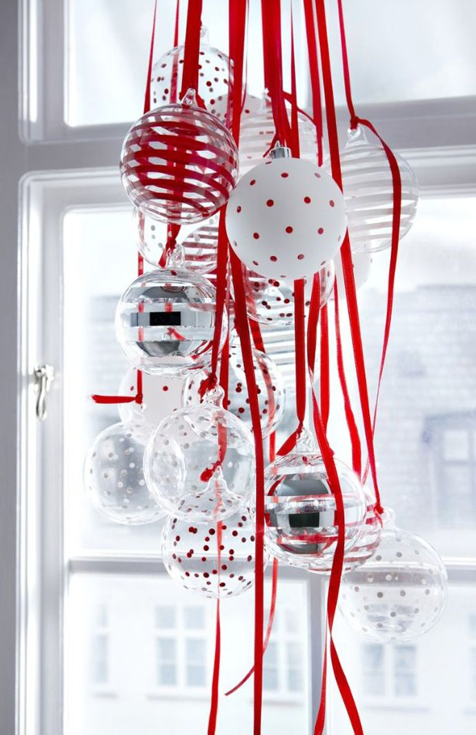 Beautiful glass ornaments in red polka dots and stripes