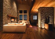 Beautiful in-floor and recessed lighting used to create a cozy ambiance in the living room