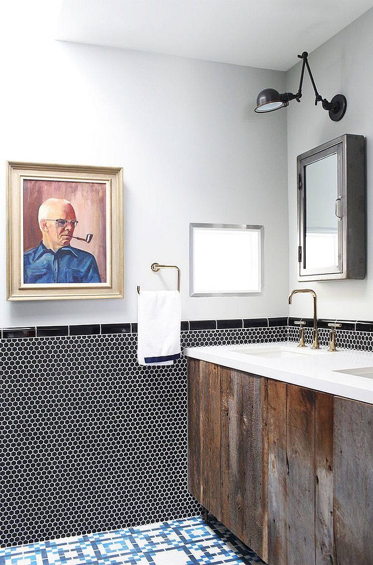 Beautiful reclaimed wood vanity is a trendy way to add warmth to the contemporary bathroom [Design: Black Lacquer Design]