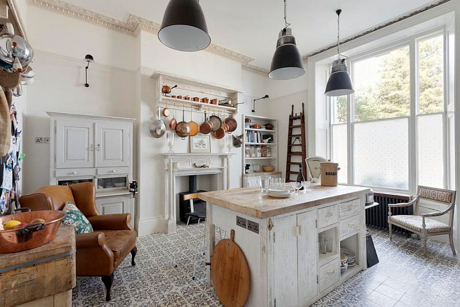 Beautiful shabby chic style kitchen with tiled flooring [From: Bruce Hemming Photography]