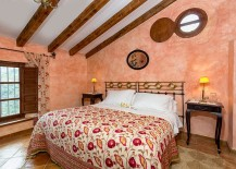 Bedroom of 18th century farm home with fabulous use of color and texture 217x155 20 Interiors That Embrace the Warm, Rustic Beauty of Terracotta Tiles