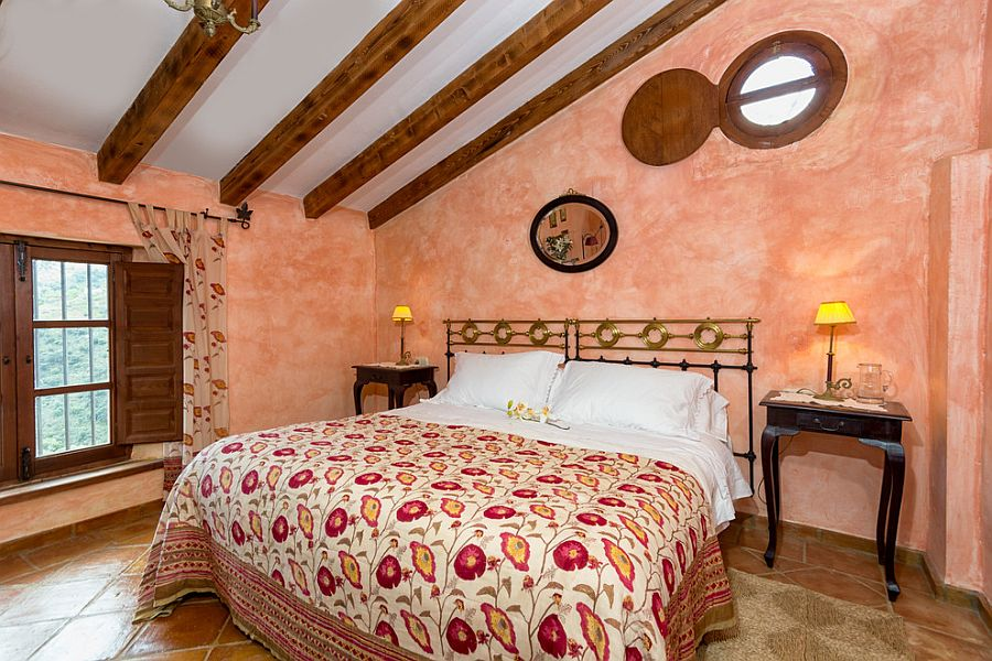 Bedroom of 18th century farm home with fabulous use of color and texture [From: Goyo Photography]
