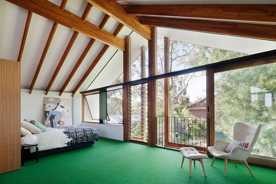 Bedroom on the top level overlooking the yard