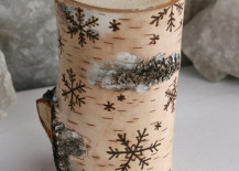 Birch wood candle holder with snowflake designs