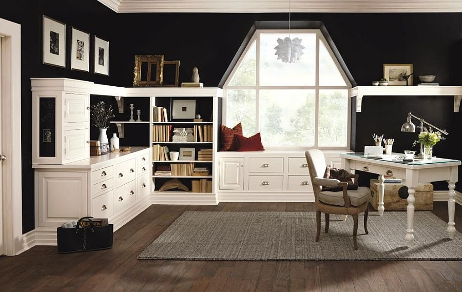 Black and white create the perfect contrast in the home office [From: MasterBrand Cabinets]