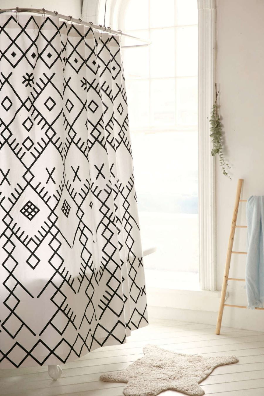 Black and white geo shower curtain from Urban Outfitters
