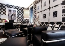 Black and white home office with tiniest hint of color 217x155 30 Black and White Home Offices That Leave You Spellbound