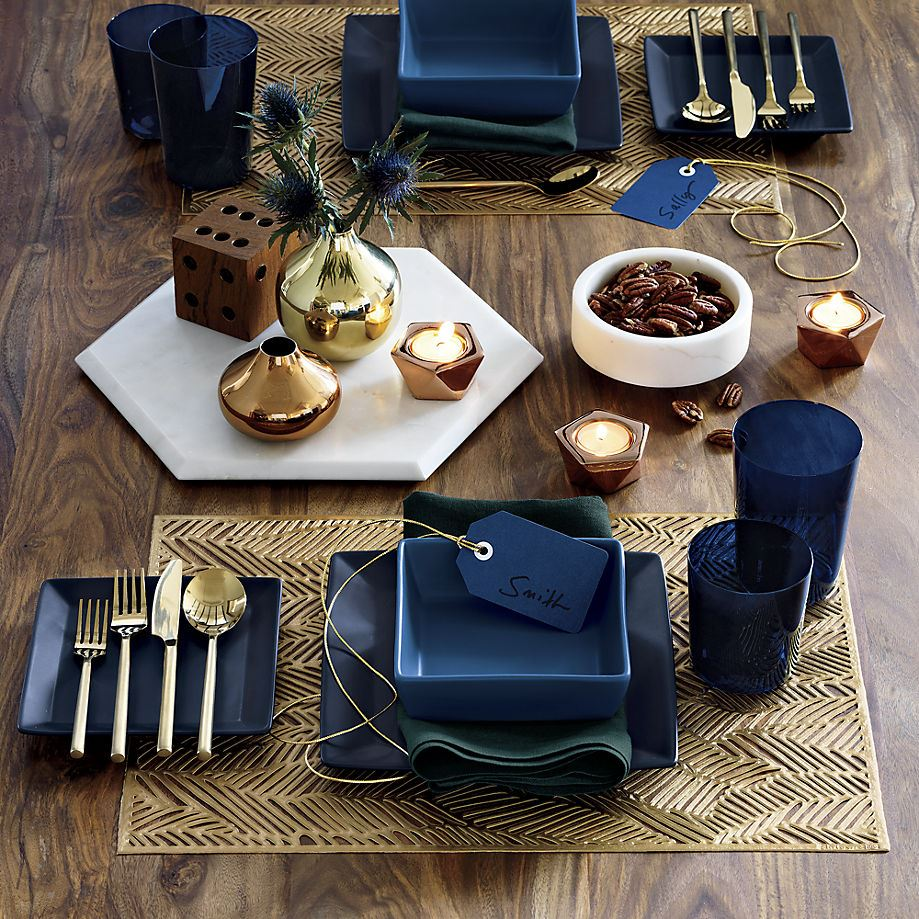 Blue and gold table setting from CB2