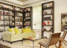 Bookshelf spotlights near the ceiling in a living area