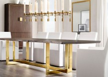 Brass dining table from RH Modern