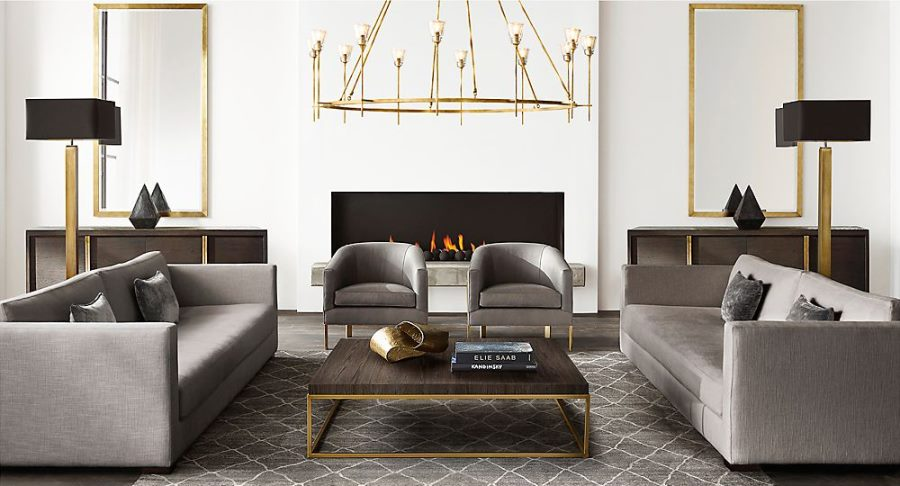 New brass furniture and decor from rh modern for Furnitures designs living room