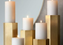 Brass hexagonal candle holders from RH Modern