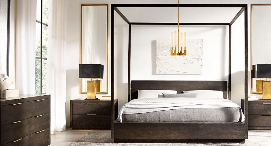 Brass table lamps from RH Modern