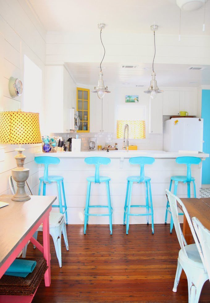 Bright blue kitchen bar stools paired with yellow accents