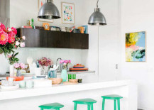 Bright kitchen with green bar stools 217x155 18 Brilliant Kitchen Bar Stools That Add a Serious Pop of Color