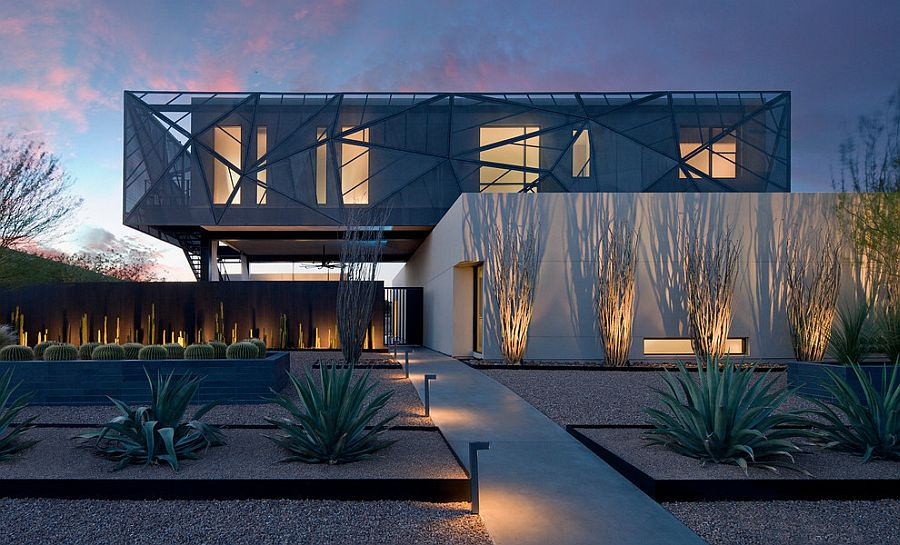 Brilliantly lit contemporary landscape around sculptural Las Vegas home [Design: Assemblage Studio]