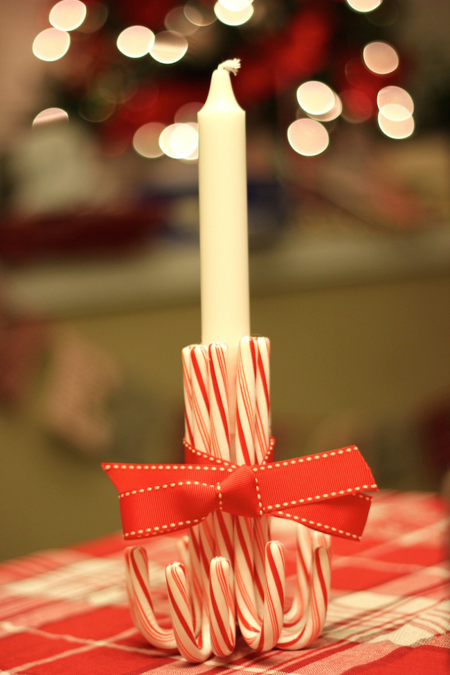 Candy cane candlestick