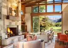 Captivating use of Colorado sandstone and split brownstone for the fireplace wall