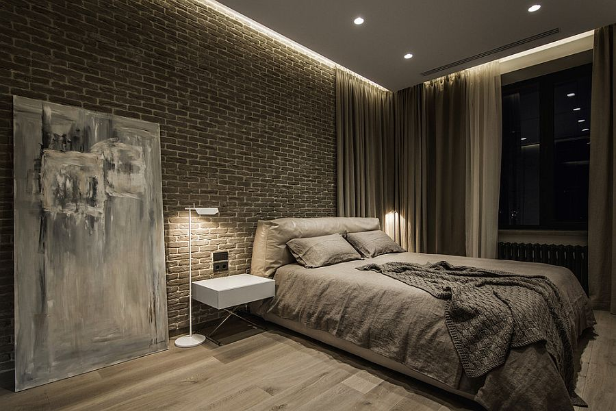Casual placement of giant wall art piece adds to the dark demeanor of the posh bedroom [Design: Yo Dezeen]