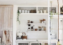 Casual vibe of the shabby chic kitchen makes it a delight in small homes