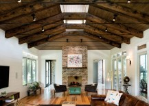 Ceiling spotlights in a modern eclectic living room