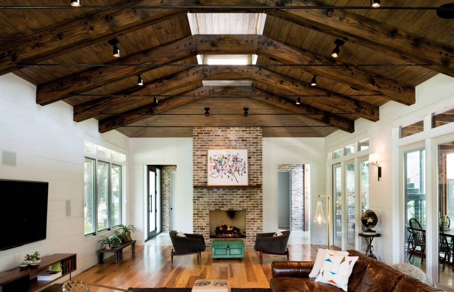 View in gallery Ceiling spotlights in a modern eclectic living room