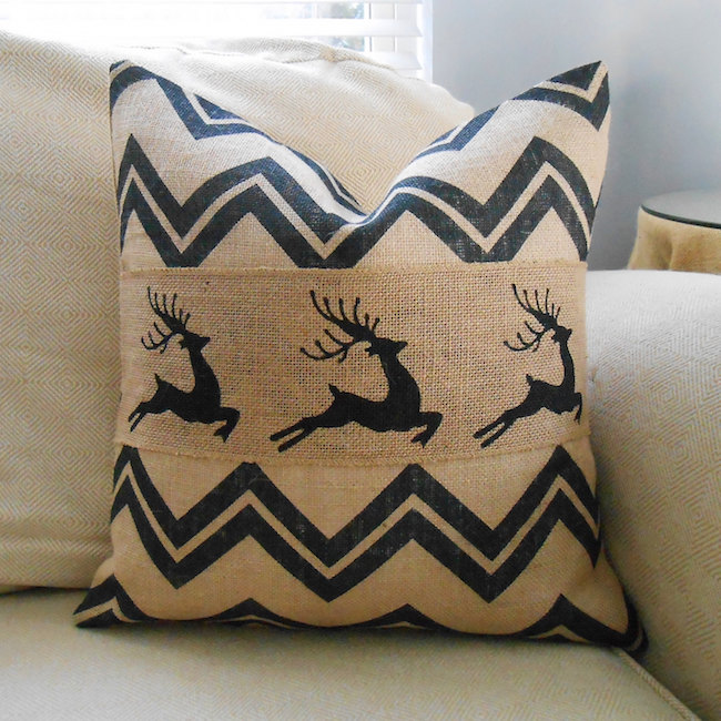 Chevron reindeer burlap pillow
