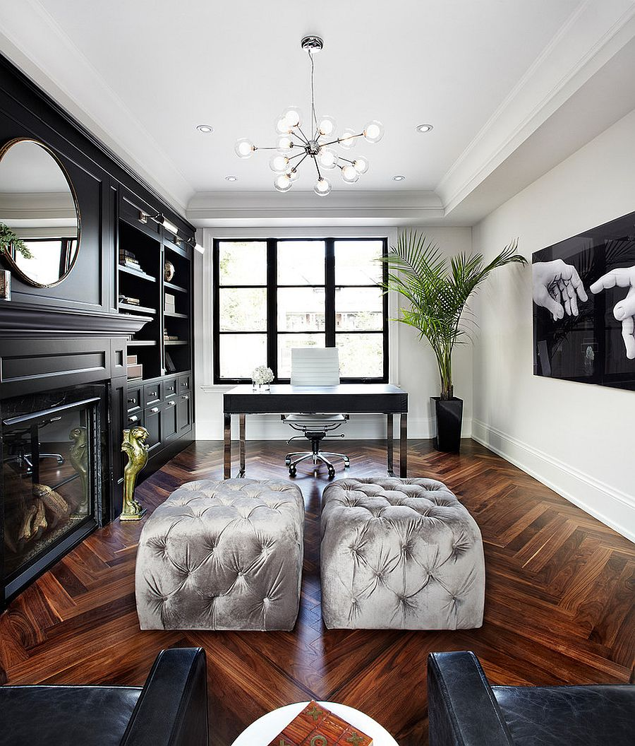 Design Black And White Office 30 black and white home offices that leave you spellbound view in gallery chic office with a hint of hollywood regency from the design co