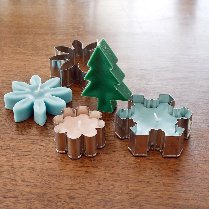 Christmas cookie-cutter candles