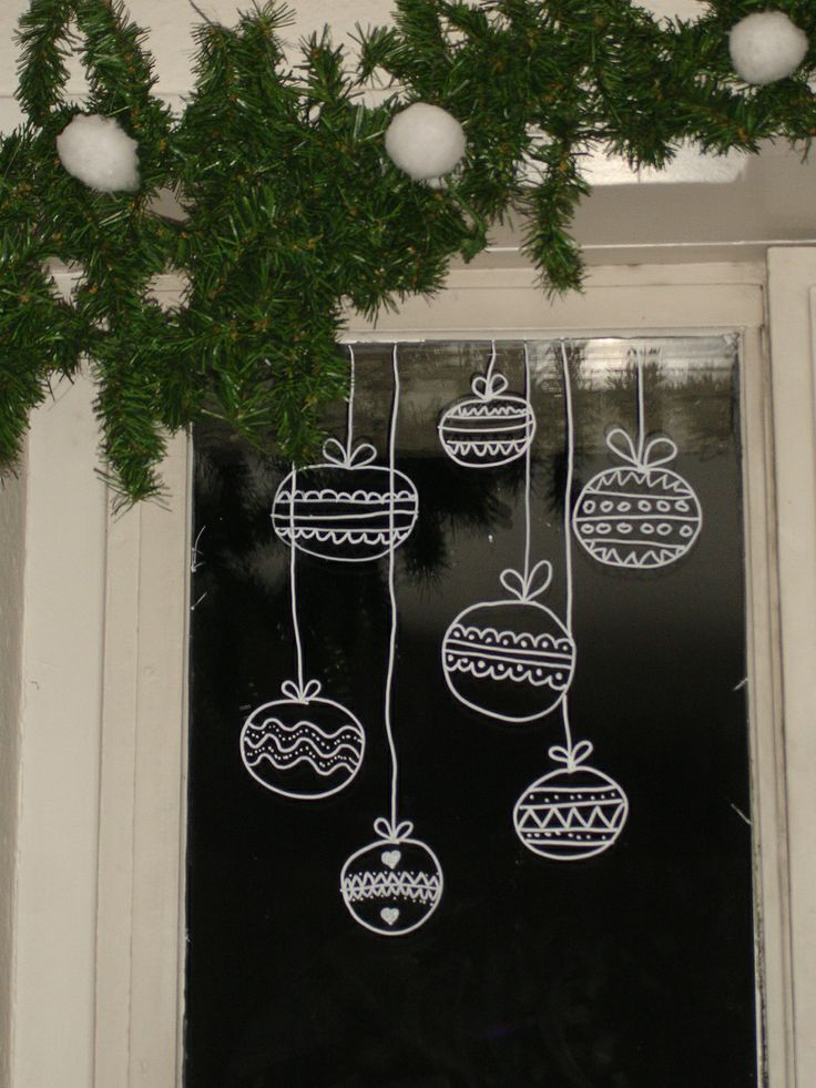 Christmas ornaments draw on window with temporary white marker