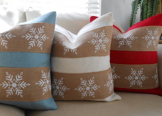 Christmas snowflake burlap pillow