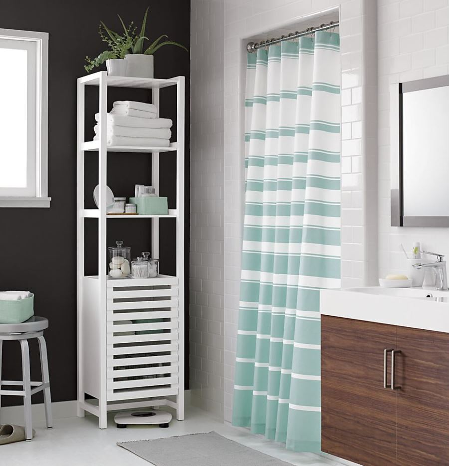 teal striped shower curtain. View in gallery Classic striped shower curtain from Crate  Barrel The Latest Shower Curtain Trends
