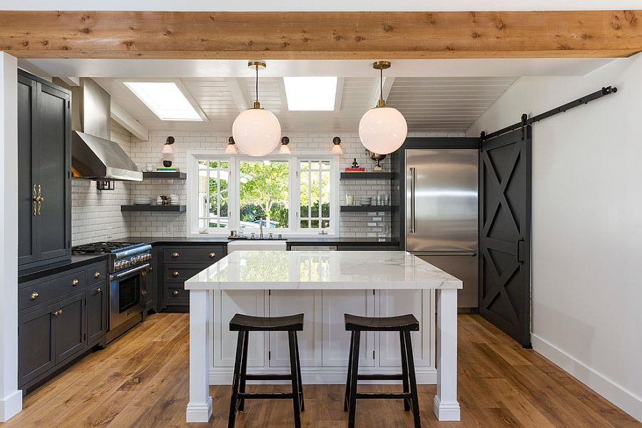 25 trendy kitchens that unleash the allure of sliding barn doors. Black Bedroom Furniture Sets. Home Design Ideas