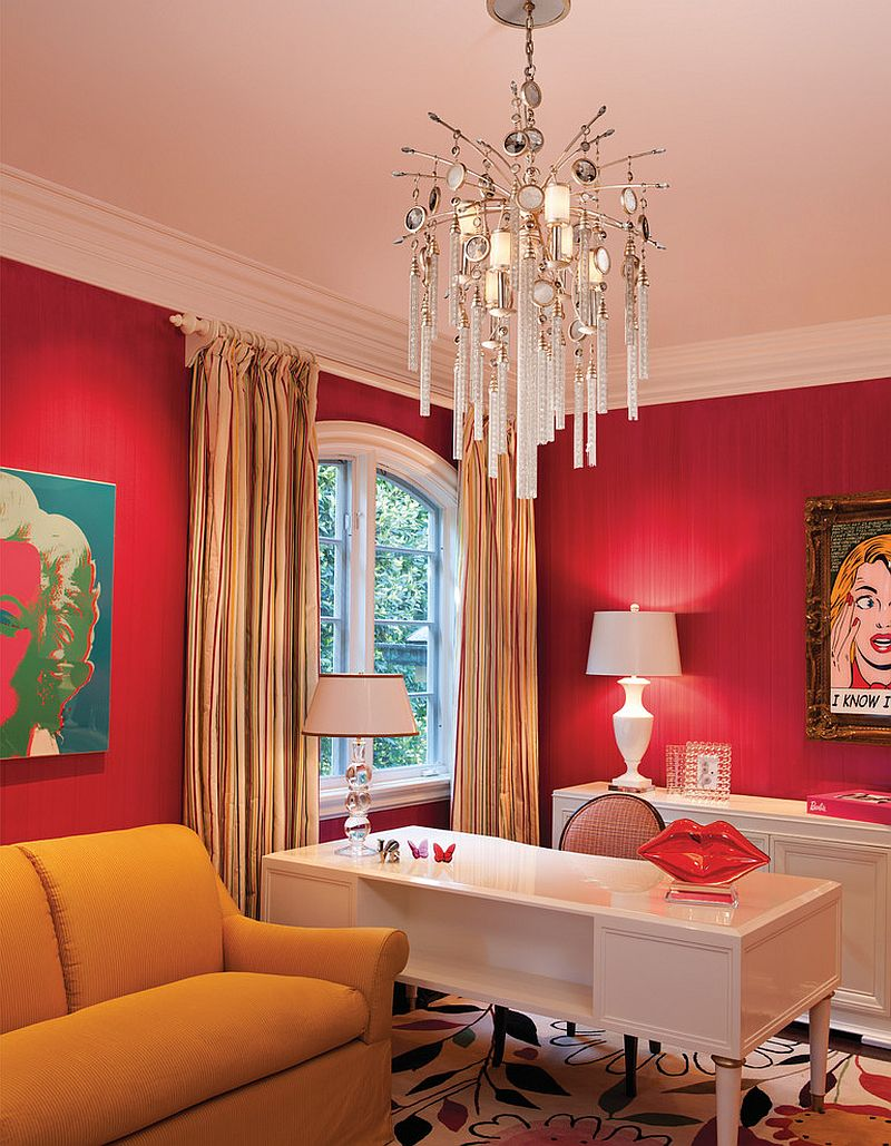 Classy way to use red in the contemporary home office [From: American Lighting Association]