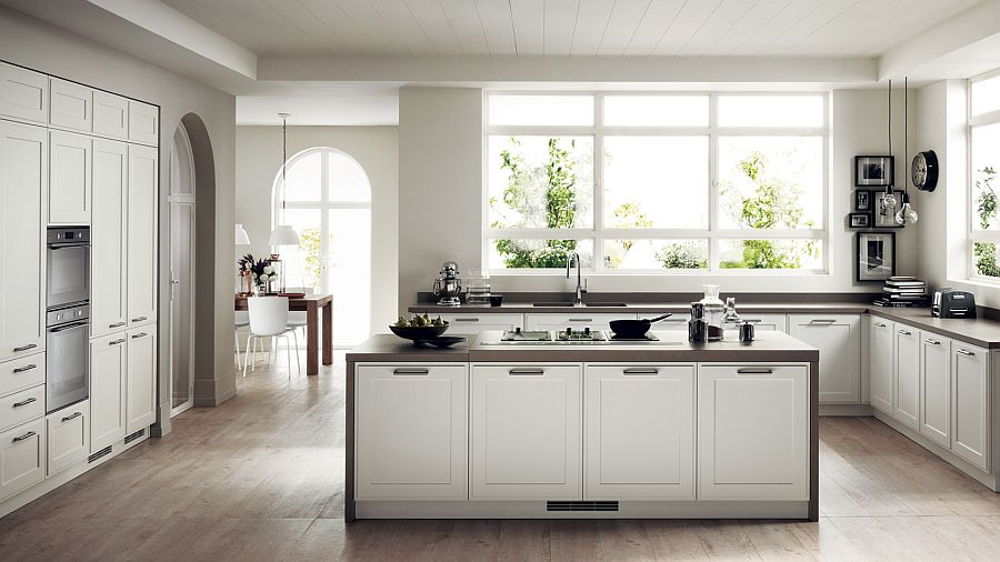 Clean, straight lines bring contemporary aesthetics to the shabby chic kitchen